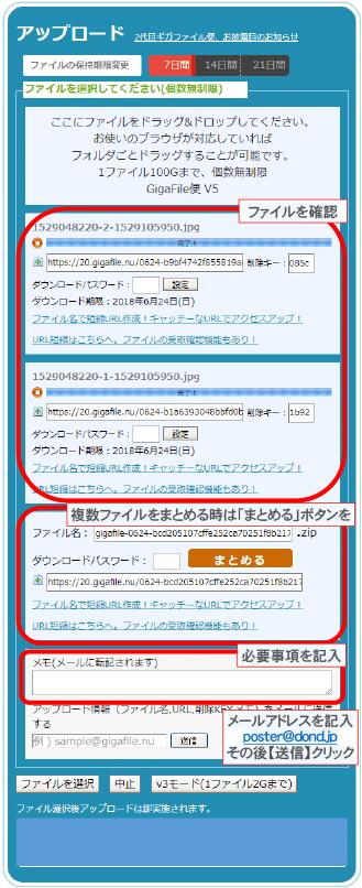 ファイルの確認後必要事項、メールアドレス記載し送信